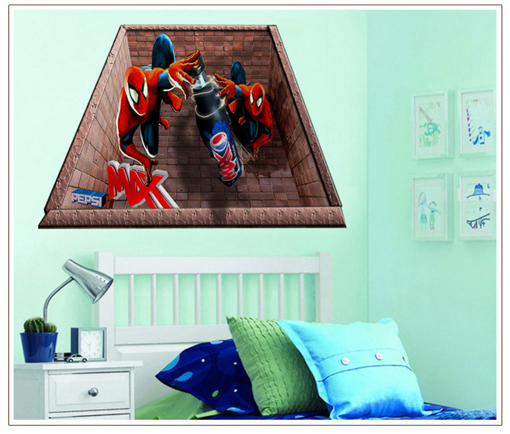 Awesome Spider Man 3D Wall Stickers For Kids Rooms Decoration Boys Wall Decals  Superman Super Hero Vinly Sticker Art Bedroom Wallpaper Part 29
