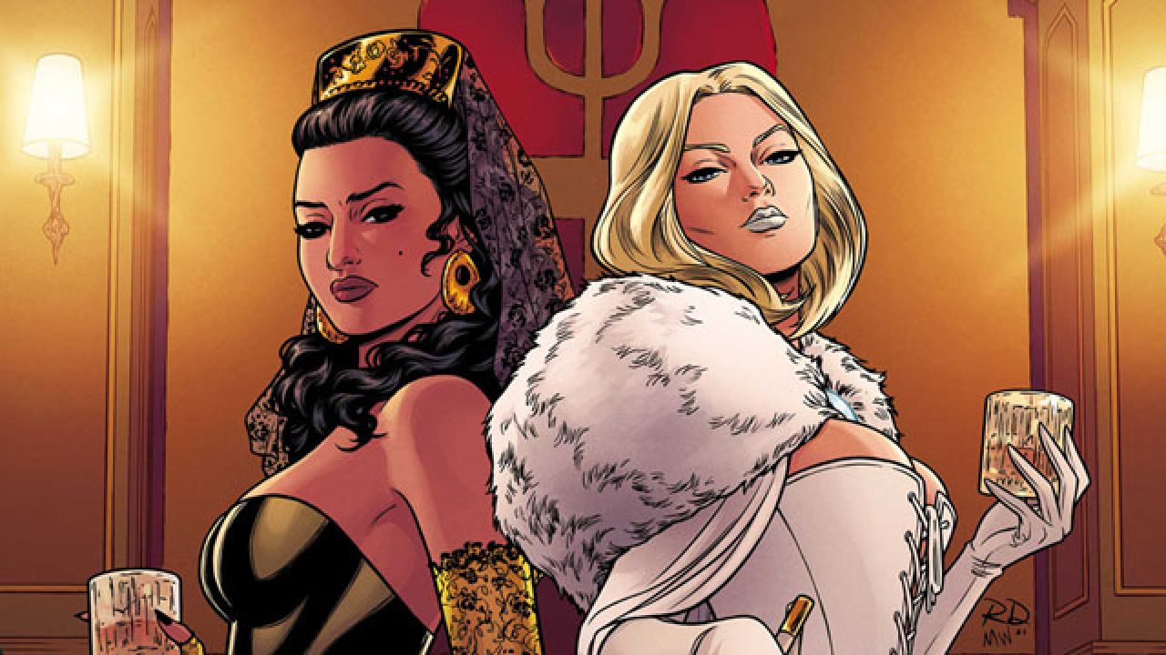 The Black Bishop of the Hellfire Club stands back-to-back with Emma Frost.