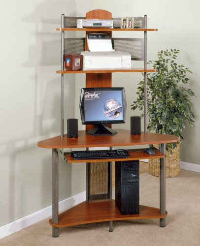A-Tower Corner Wood Computer Desk with Hutch