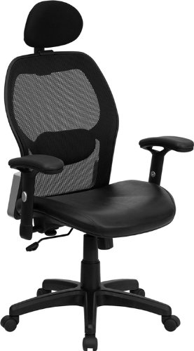 High Back Super Mesh Office Chair with Black Italian Leather Seat and Knee Tilt Control