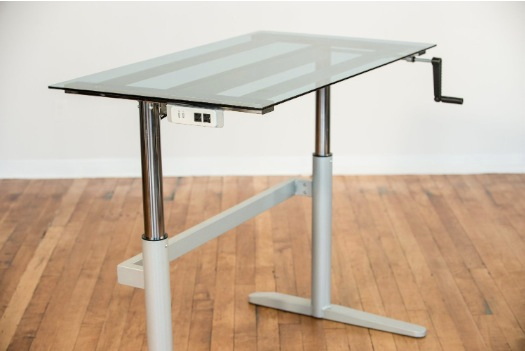 Rebel Desk Adjustable-Height Standing Desk with Glass Desktop-2
