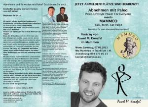 """Flyer Mammeo """"Talk Meet Eat Paleo"""" - Vortrag Abnehmen Mit Paleo von Pawel M. Konefal"""