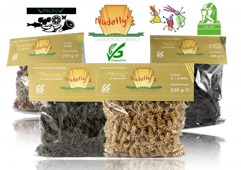 Paleo Pasta: Nudelly's Quattro Premium, glutenfreie Pasta im 4er-Pack, Kürbiskernmehl, Sesammehl, Mohnmehl, Eier-Nudeln mit Tapioka-Stärke als Tagliatelle u. Fusilli, low-carb, paleo, clean, sojafrei