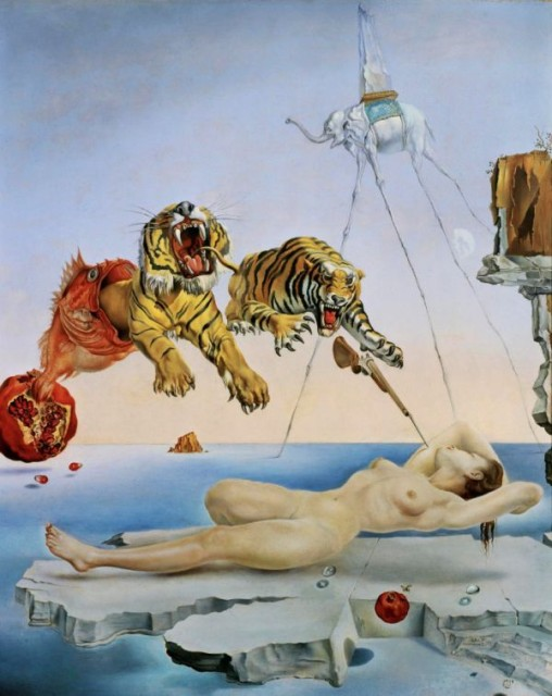 dream-caused-by-the-flight-of-a-bee-around-a-pomegranate-a-second-before-waking-up-by-salvador-dal-1944