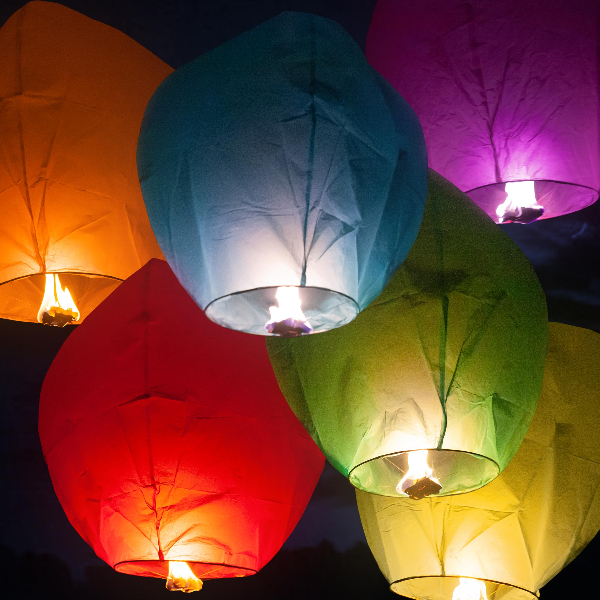Assorted Color Sky Lanterns 12 Pack Superior Celebrations