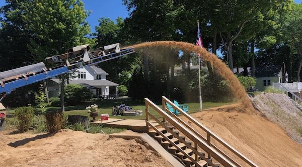sand installation for michigan beach renourishment