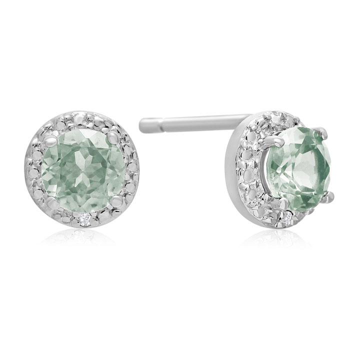 1 1/3 Carat Green Amethyst and Diamond Stud Earrings in Sterling Silver