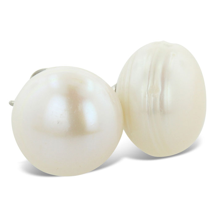 Classic 11-12mm Lustrous Natural Freshwater Pearl Stud Earrings