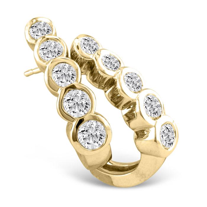 1/2ct Bezel Set Journey Diamond Hoop Earrings in 14k Yellow Gold
