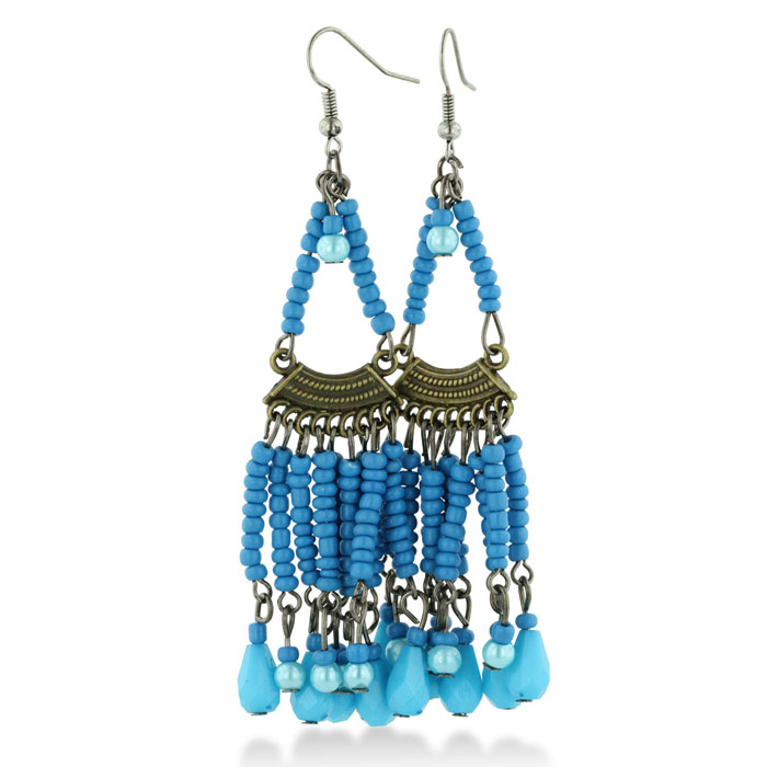 Chandelier Dangle Earrings with Turquoise Colored Beaded Strands, 3 Inches Long