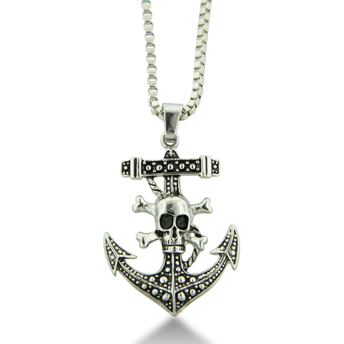 Skull and Anchor Pirate Pendant on 18 inch Stainless Steel Box Chain Necklace