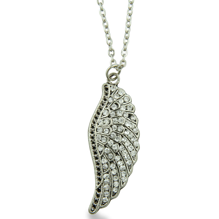 Crystal Studded Silver Tone Wing Necklace, 18 Inches Long