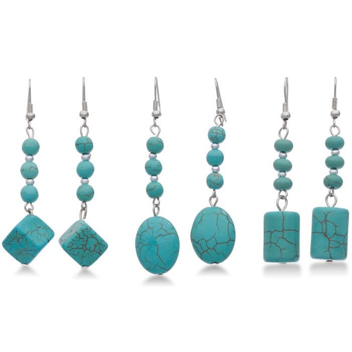 Set of 3 Trendy Geometric Turquoise Dangle Earrings