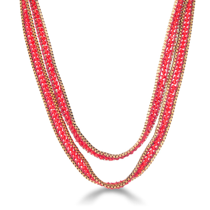 Red Crystal Wrap Necklace with Gold Tone Box Chain Border and Button Closure, 40 Inches Long