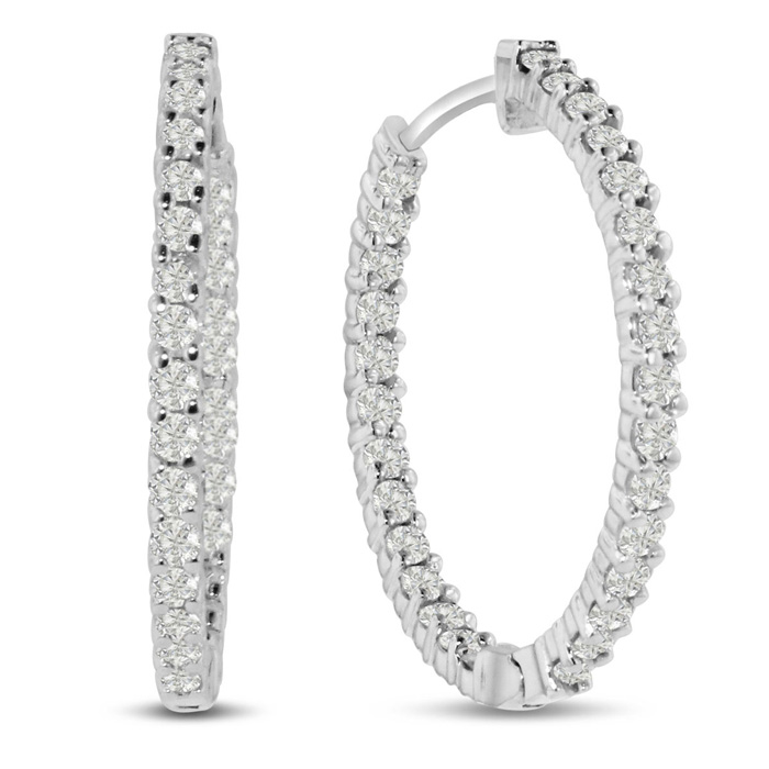 2ct Endless Diamond Hoop Earrings Crafted In Solid 14 Karat White Gold