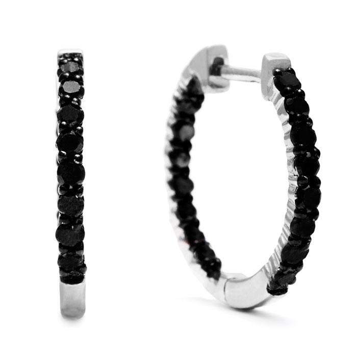 1ct Black Diamond Inside-Out Hoop Earrings