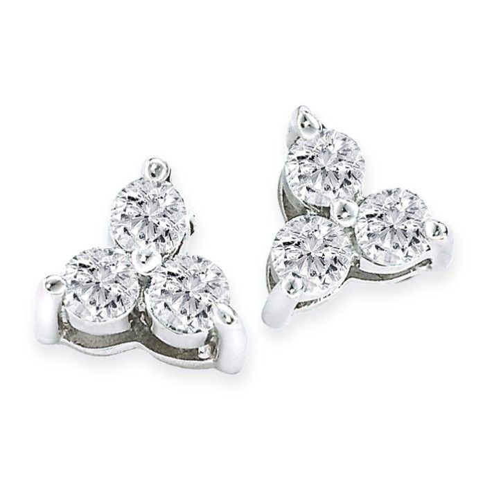 1/4ct Three Diamond Triangle Style Diamond Earrings In 14k White Gold
