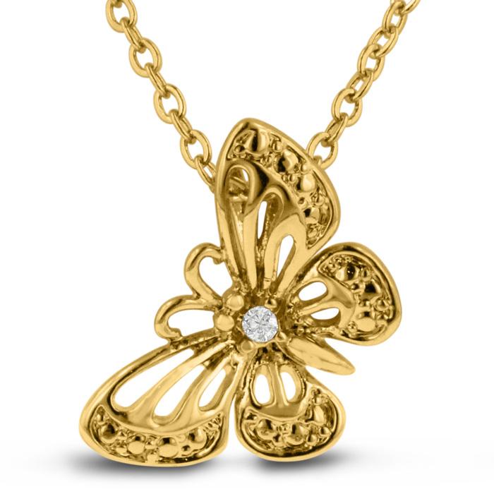 18k Gold Overlay Diamond Butterfly Necklace