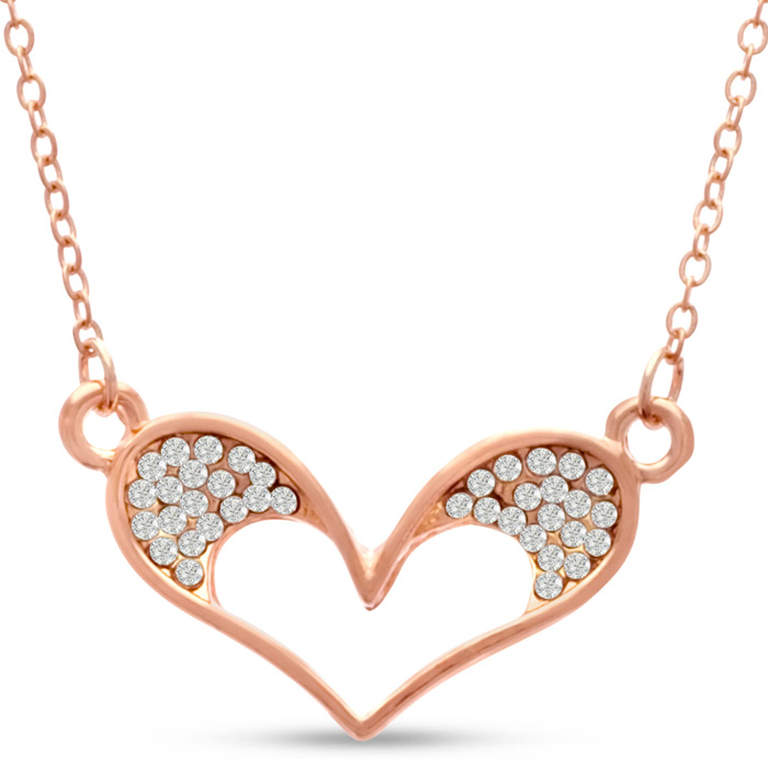 Swarovski Elements Bubble Heart Necklace In Rose Gold Tone, 18 Inches