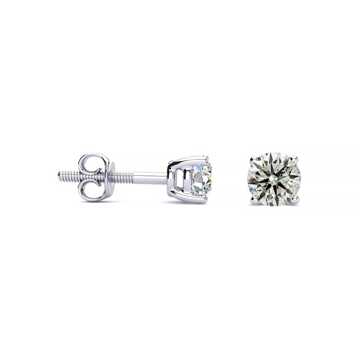 1/2ct Diamond Stud Earrings in 14k White Gold - With FREE Diamond Bracelet and Necklace!