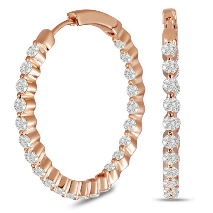 18K Rose Gold 3 Carat Floating Diamond Hoop Earrings