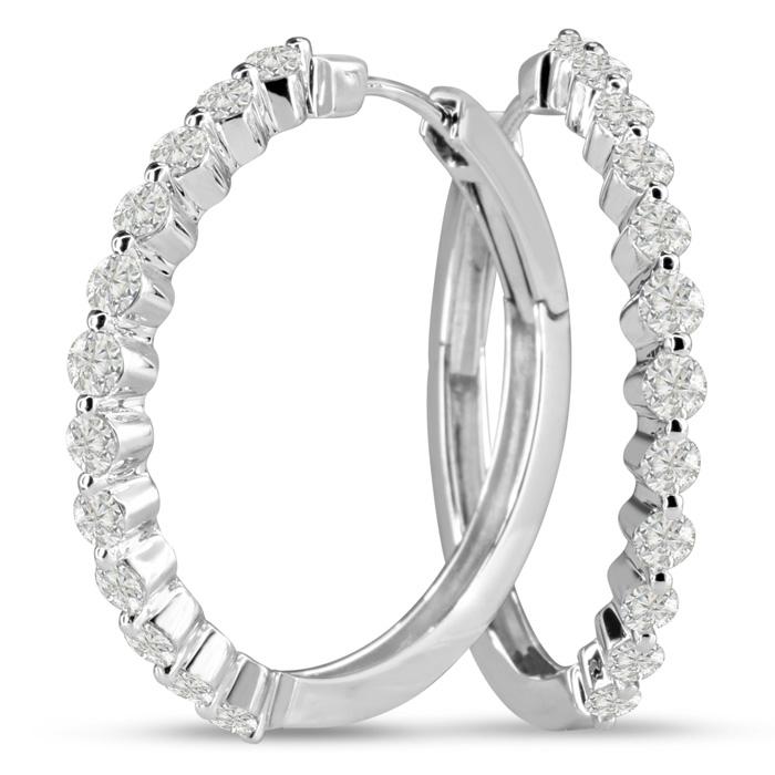 14K White Gold 1.50 Carat Floating Diamond Hoop Earrings