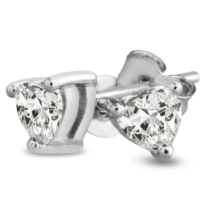 1/2ct CZ Heart Earrings in Sterling Silver