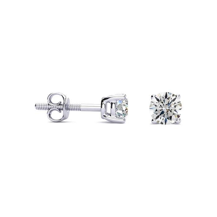 Platinum 1/2ct Diamond Stud Earrings G Color SI1 Clarity