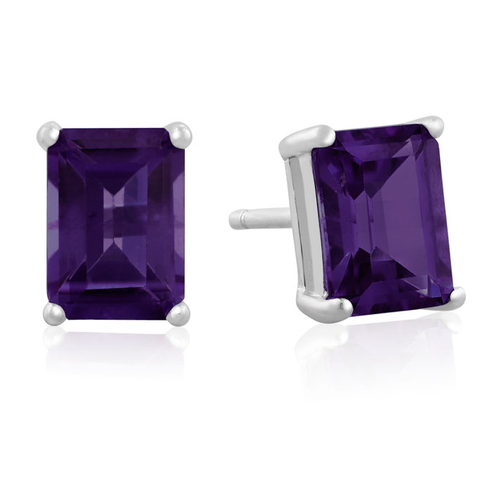 3ct Emerald Cut Amethyst Earrings