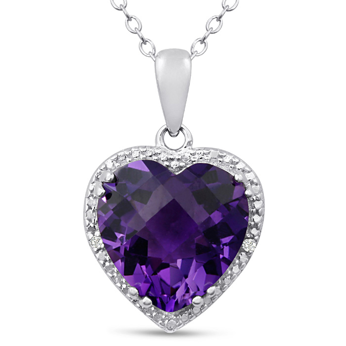 5ct Amethyst and Diamond Heart Necklace