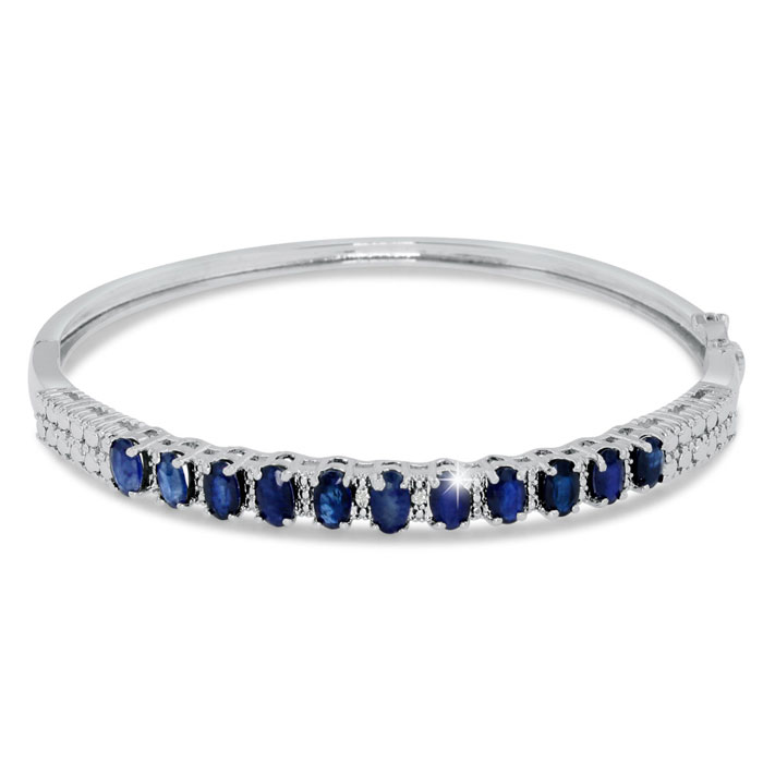 3ct Sapphire and Diamond Bangle Bracelet