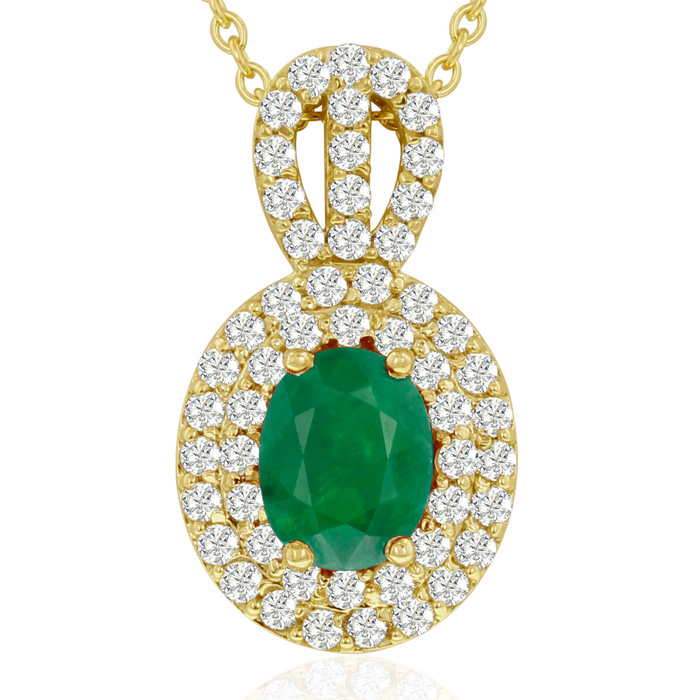 3.50 Carat Fine Quality Emerald And Diamond Necklace In 14K Yellow Gold