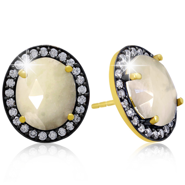 20 Carat Natural Pearl Sapphire And CZ Earrings In 18 Karat Gold Over Silver