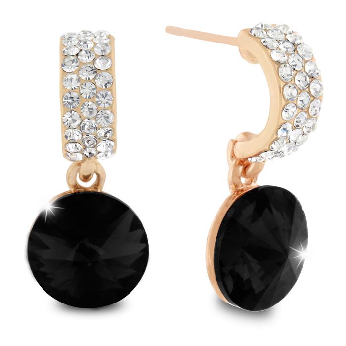 Black Onyx Swarovski Elements Dangle Earrings, Pushbacks