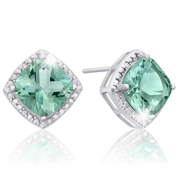 3 3/4 Carat Cushion Cut Green Amethyst and Diamond Earrings In Sterling Silver