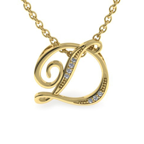 D Initial Necklace In Yellow Gold With 7 Diamonds