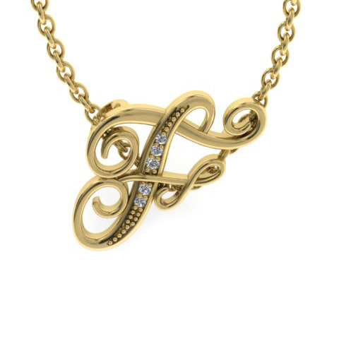 F Initial Necklace In Yellow Gold With 5 Diamonds