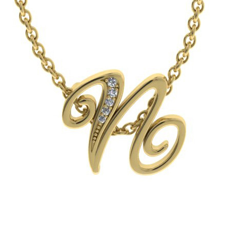 N Initial Necklace In Yellow Gold With 5 Diamonds