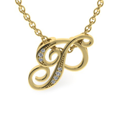 P Initial Necklace In Yellow Gold With 7 Diamonds