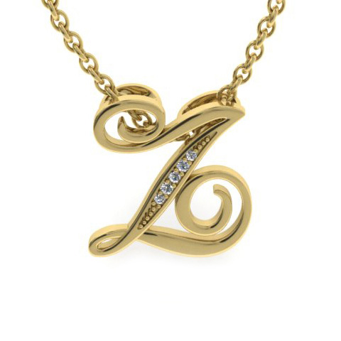 Z Initial Necklace In Yellow Gold With 5 Diamonds