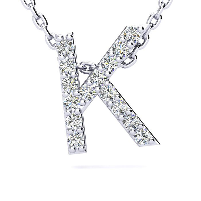 K Initial Necklace In White Gold With 15 Diamonds