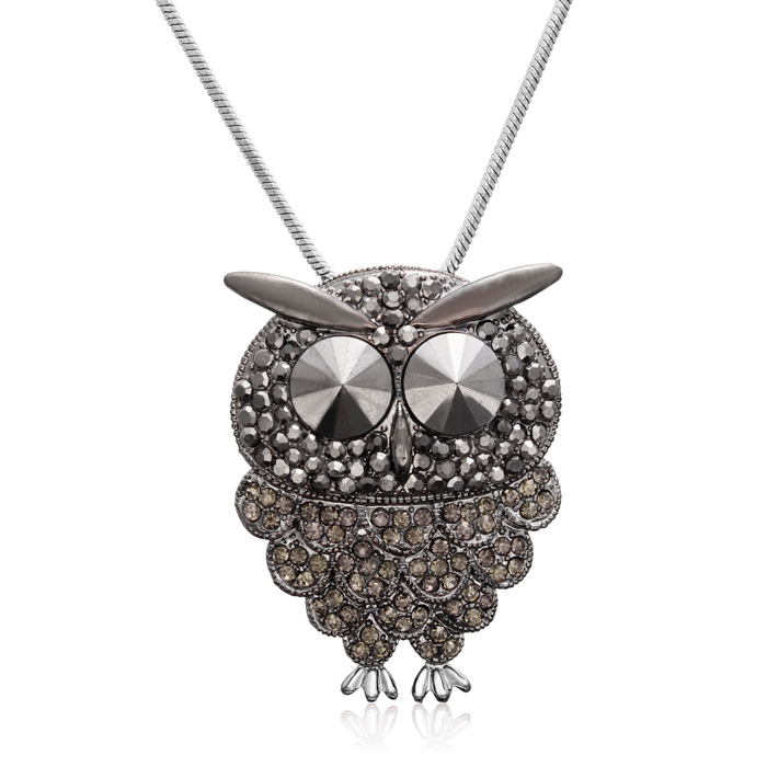 Gunmetal and Black Crystal Owl Necklace, 18 Inches