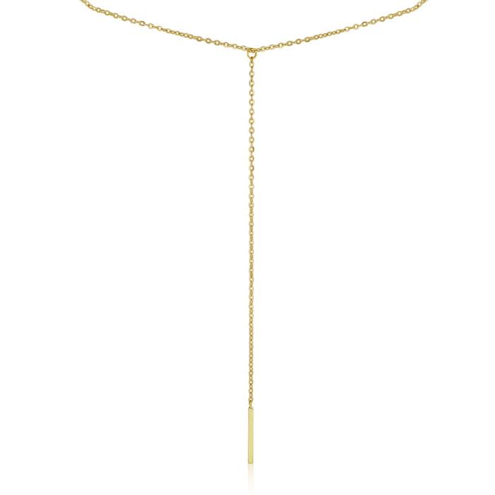 Y Bar Necklace, Yellow Gold
