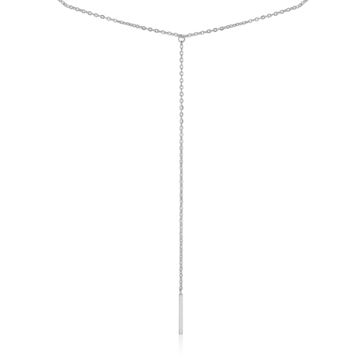 Y Bar Necklace, White