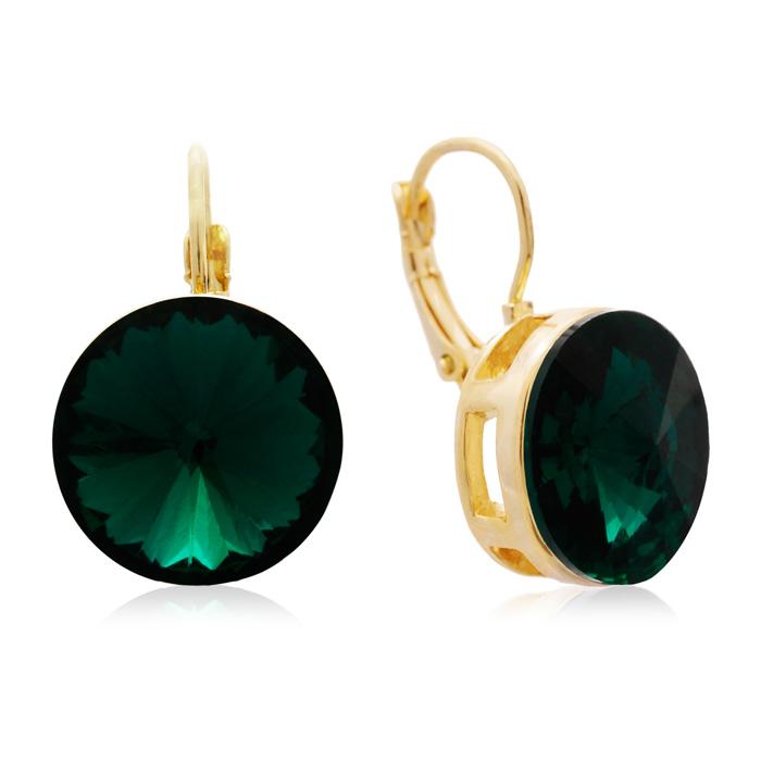 30 Carat Emerald Crystal Earrings, Gold Overlay