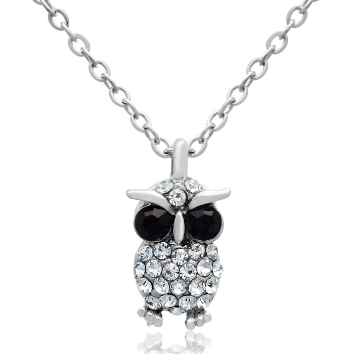 Sapphire and White Crystal Dainty Owl Necklace, 16 Inches