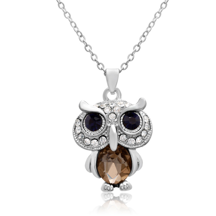 Sapphire and White Crystal Owl Necklace, 16 Inches