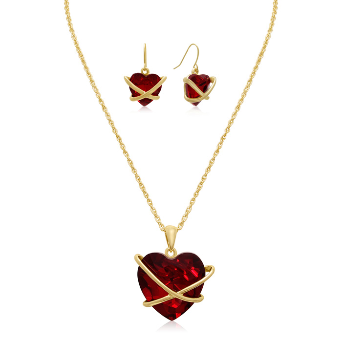 Crystal Ruby Heart Necklace With Free Matching Earrings , SuperJeweler.com