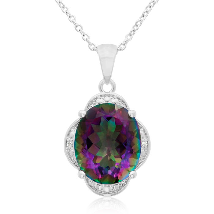 4ct Oval Mystic Topaz and Diamond Necklace