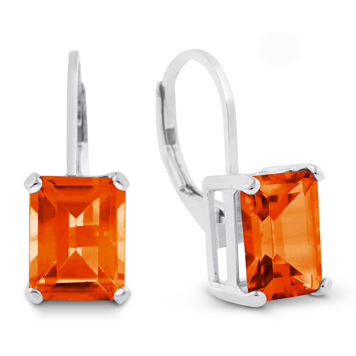 4 1/2 Carat Emerald Shape Created Padparadscha Sapphire Drop Earrings In Sterling Silver